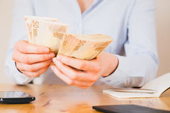 Hands Count Money - Euro Royalty Free Stock Photo