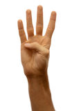 Hands counter. Four. The hand of man shows four fingers on a white background royalty free stock photo