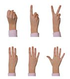 Hands, counting 0 to 5 Royalty Free Stock Photos