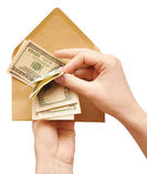 Hands is counting a cash in an envelope Stock Photography
