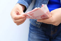 Hands counting chinese yuan money Royalty Free Stock Photography