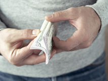 Hands counting dollars Royalty Free Stock Photos