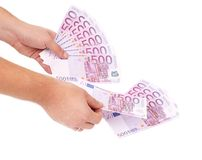 Hands counting euro bills. Royalty Free Stock Images