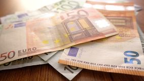 Hands counting Euros bills. Count money income. Euro banknotes on the table. Corrupted System. Business and Finance Concept. Europ. Ean money currency stock video footage