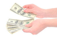 Hands counting money Royalty Free Stock Photos