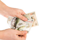 Hands counting money. Man hands counting romanian money lei Stock Photography