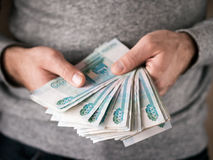 Hands counting rubles Stock Image