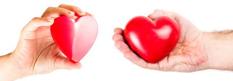 Hands of the couple with heart shapes Royalty Free Stock Photos