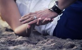 Hands with sand stock image