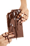 Hands covered in chocolate Royalty Free Stock Images