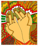 Hands cozy. Vector illustration, drawing made with bamboo pen intuos Royalty Free Stock Image