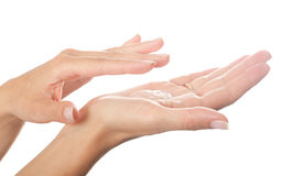 Hands with cream Stock Image