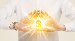 Hands creating a form with dollar sign Stock Images