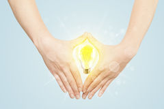 Hands creating a form with light bulb Stock Photography