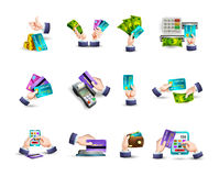 Hands credit card payment icons set Stock Photography