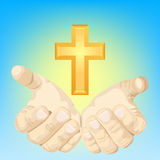 Hands and cross vector illustration