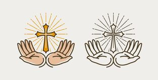 Hands and cross, crucifixion.. Hands and cross, crucifixion. God, bible, religion faith pray symbol or icon Royalty Free Stock Images