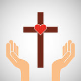 Hands with cross and sacred heart icon Royalty Free Stock Photos