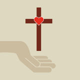 Hands with cross and sacred heart icon Royalty Free Stock Images