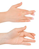 Hands with crossed fingers. Isolated on white background Stock Image
