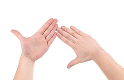 Hands crossed together. Royalty Free Stock Photography