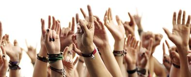 Hands of crowd Stock Photography
