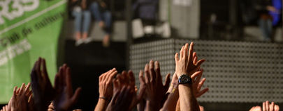 The hands of the crowd  in a concert at Razzmatazz venue Stock Photography