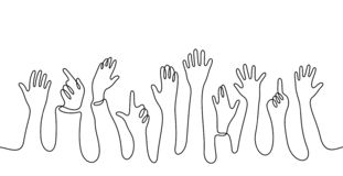 Hands Crowd Continuous Line Vector Illustration Royalty Free Stock Images