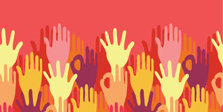 Hands in the crowd horizontal seamless pattern Royalty Free Stock Photo