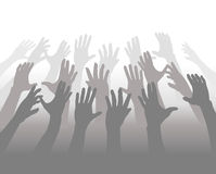 Hands of a Crowd of People Reach for Copyspace Royalty Free Stock Images