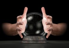 Hands On Crystal Ball. A pair of male hands surrounding a crystal ball on an isolated dark studio background stock illustration