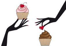 Hands with cupcakes,  Royalty Free Stock Image