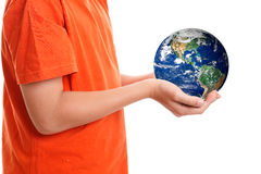 Hands cupping holding our planet Earth Royalty Free Stock Photos