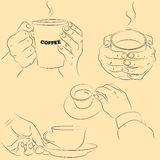 Hands with cups Royalty Free Stock Images