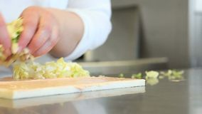 Hands cut lettuce for the sandwich stock video footage