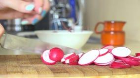 Hands cut organic radish on cutting board from garden. 4K stock footage