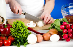 Hands are cut by vegetables and food ingredients Stock Image