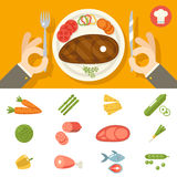 Hands cutlery Plate Food Icon Set Restaurant Stock Images
