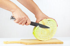 Hands cuts fresh cabbage on a wooden cutting board Royalty Free Stock Photography