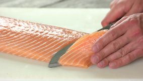 Hands cutting fish. Raw salmon close up stock video