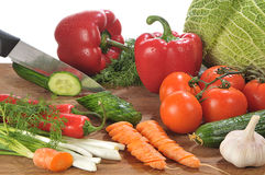 Hands cutting vegetables Royalty Free Stock Photography