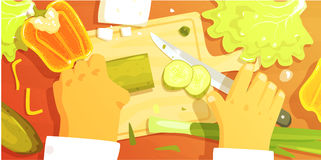 Hands Cutting Vegetbles Colorful Illustration From Above. Cooking Process Flat Bright Drawing In Fun Cartoon Vector Design Stock Image