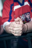 Hands of Czech Hockey Fan Royalty Free Stock Photo