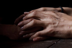 Hands in the dark Royalty Free Stock Photography