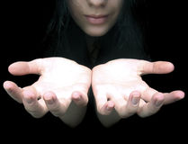 Hands in darkness Royalty Free Stock Images