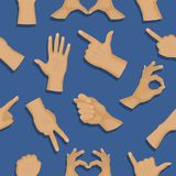 Hands deaf-mute different gestures human arm people communication vector seamless pattern background Stock Photography