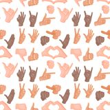 Hands deaf-mute seamless pattern background gestures human arm people communication message vector illustration. Hands showing deaf-mute seamless pattern Stock Image