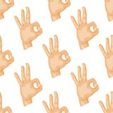 Hands deaf-mute seamless pattern gestures human arm people communication message vector illustration. Hands showing deaf-mute gestures seamless pattern human Stock Images