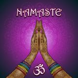 Nama ste Om. Hands decorated greeting position namaste-transparency blending effects and gradient mesh-EPS 10 Royalty Free Stock Photography