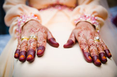 Hands Decorated with Henna. Bride's hands decorated with henna Stock Photo